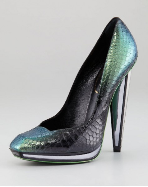 Yves Saint Laurent Snakeskin Mirror-Heeled Pump